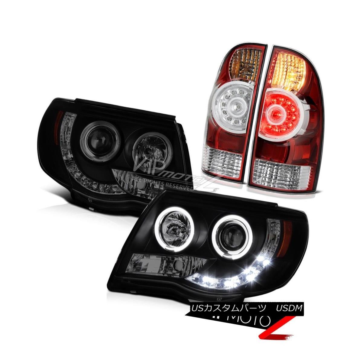 ヘッドライト 05-11 Tacoma TRD Sport Smoke tinted headlamps tail brake lights LED Dual Halo 05-11タコマTRDスポーツ煙がかかったヘッドライトテールブレーキライトLEDデュアルヘイロー