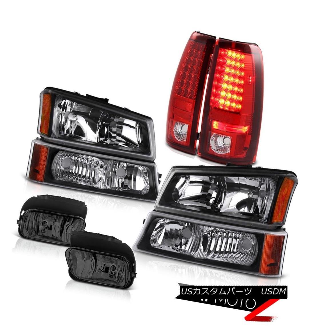 ヘッドライト 03-06 Silverado Crystal Black headlight Bumper Lamp LED Bulb Brake Taillight Fog 03-06シルバラードクリスタルブラックヘッドライトバンパーランプLEDバルブブレーキテールライトフォグ