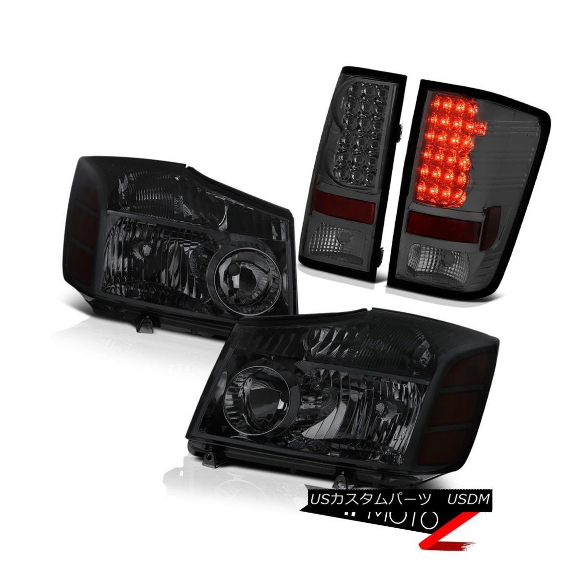 ヘッドライト For 2004-2015 Titan Dark Tinted Headlight Headlamp Smoke LED SMD Tail Light Set タイタンダークティンテッドヘッドライトヘッドライトスモークLED SMDテールライトセット