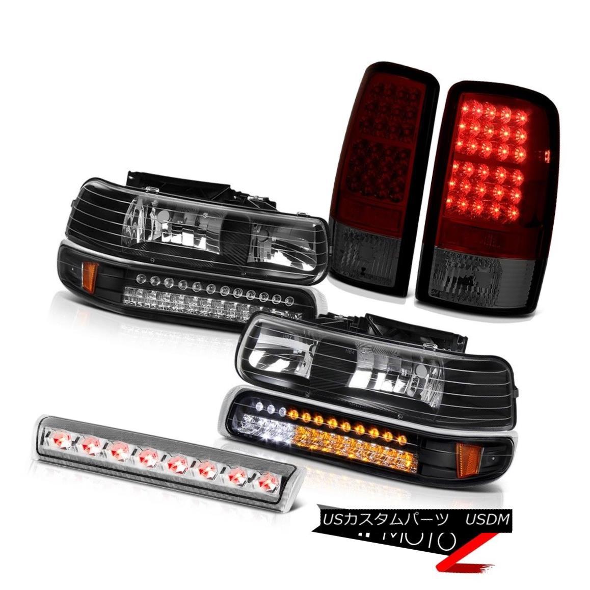 ヘッドライト 2000-2006 Suburban 5.7L Black LED Parking Headlights Dark RED Tail Lights Roof 2000-2006郊外5.7LブラックLEDパーキングヘッドライトダークREDテールライトルーフ