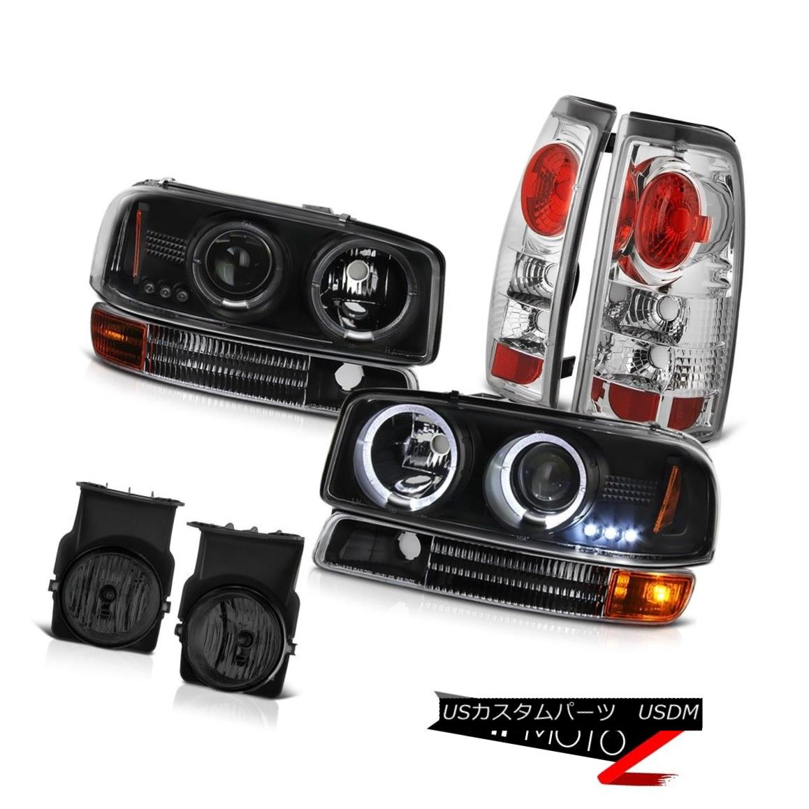 ヘッドライト 2X Halo LED Headlamp Black Bumper Signal Brake TailLamp Foglight 2003 Sierra SLT 2X Halo LEDヘッドランプブラックバンパー信号ブレーキTailLamp Foglight 2003 Sierra SLT