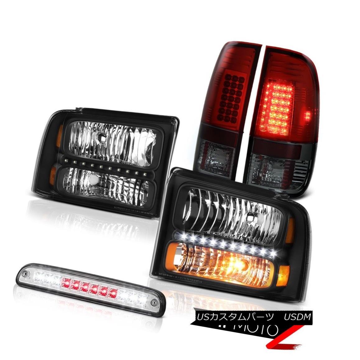 ヘッドライト 05 06 07 F250 XL Pair Black Headlamps Burgundy LED Taillights 3rd Brake Chrome 05 06 07 F250 XLペアブラックヘッドランプブルゴーニュLEDテールライト3rdブレーキクローム