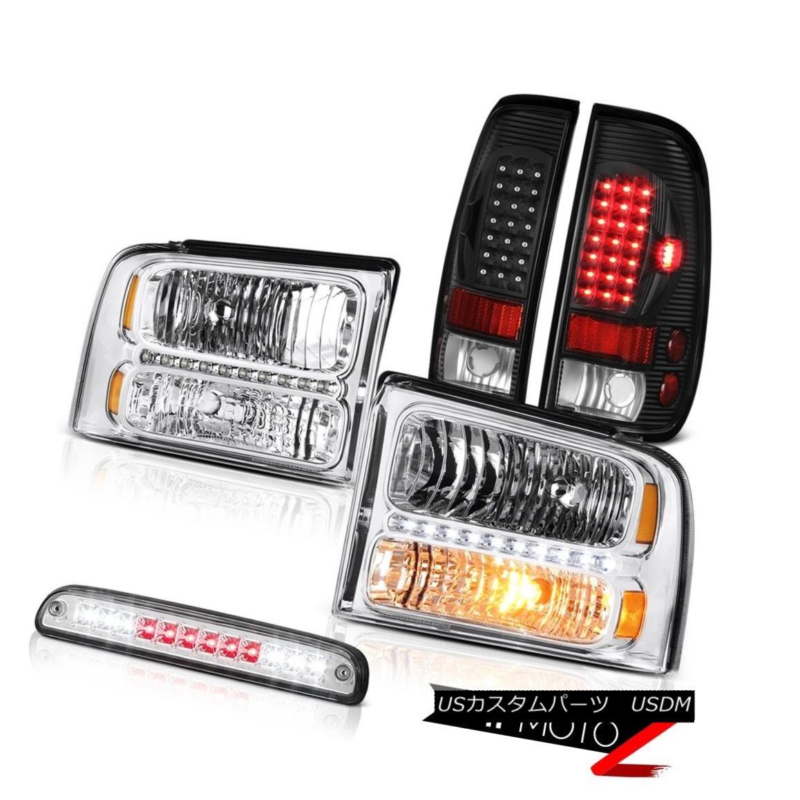 ヘッドライト 05-07 F350 Lariat Euro Chrome Headlights Signal Brake Tail Lights High Stop LED 05-07 F350 Lariat Euroクロームヘッドライト信号ブレーキテールライトハイストップLED