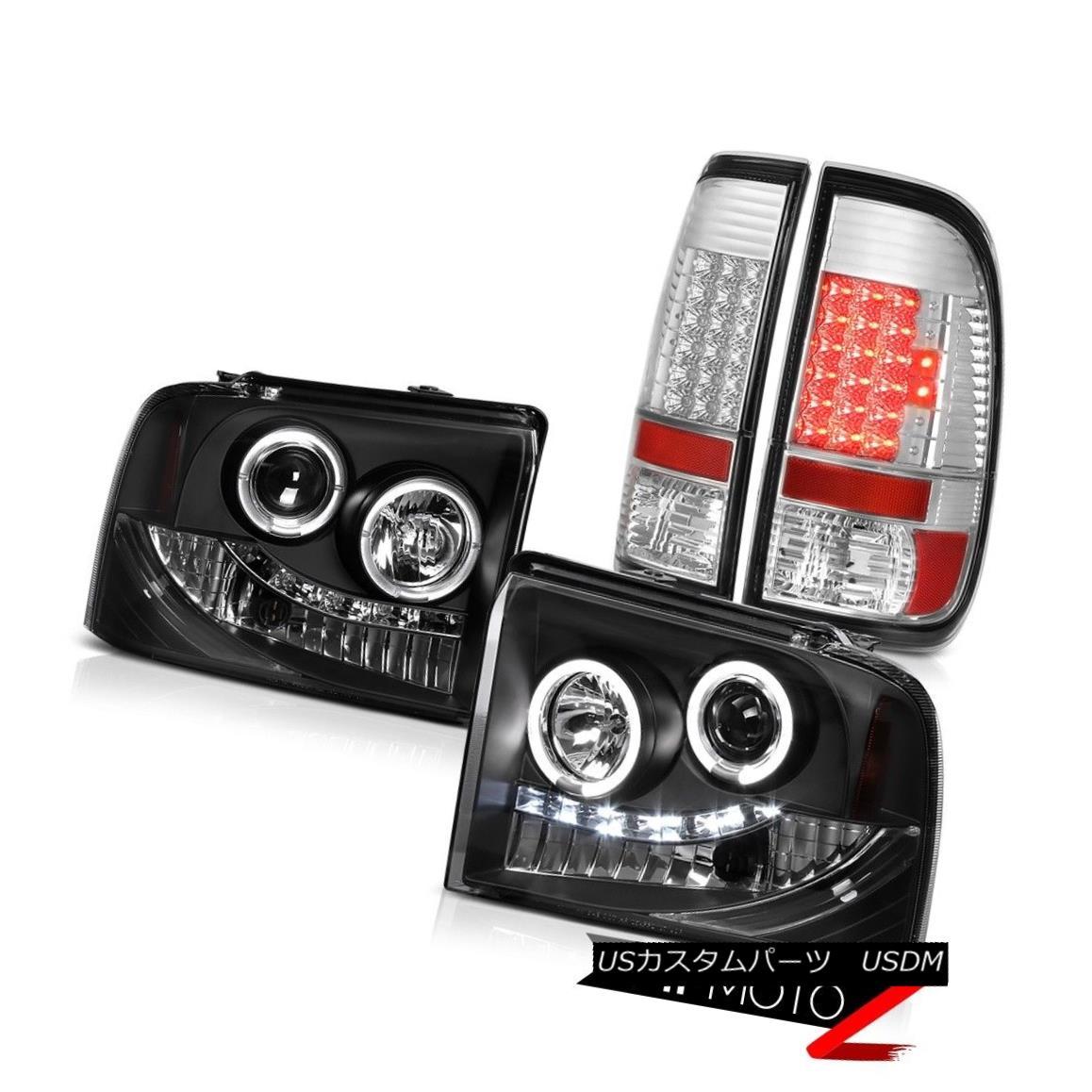 ヘッドライト Matte Halo LED Headlights Brake Lamps Taillights 05 06 07 F350 Harley Davidson マットハローLEDヘッドライトブレーキランプテールライト05 06 07 F350ハーレーダビッドソン