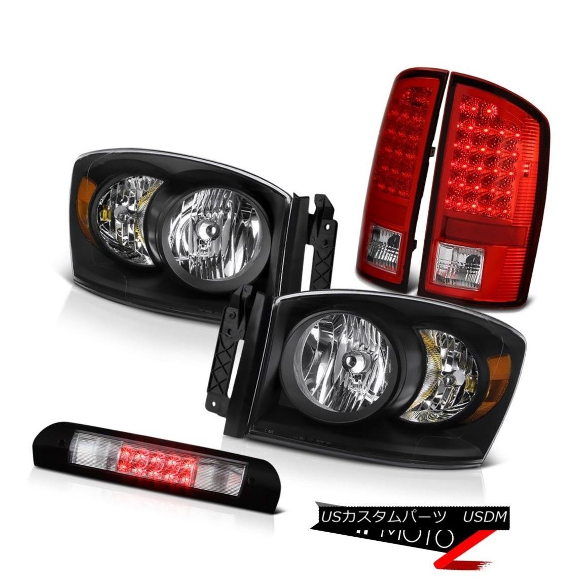 ヘッドライト L+R Headlamp RED LED Tail Light Assembly Euro 3rd Brake 2007-2008 Dodge Ram 3500 L + RヘッドランプRED LEDテールライトアセンブリユーロ3ブレーキ2007-2008ダッジラム3500