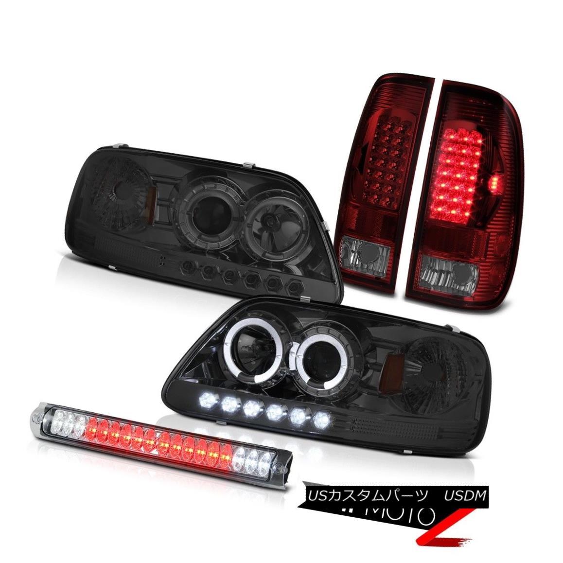 ヘッドライト Pair Smoke Halo LED Headlight Red Tail Lights Roof Brake Lamp Chrome 97-03 F150 ペア煙ハローLEDヘッドライトレッドテールライトルーフブレーキランプクローム97-03 F150