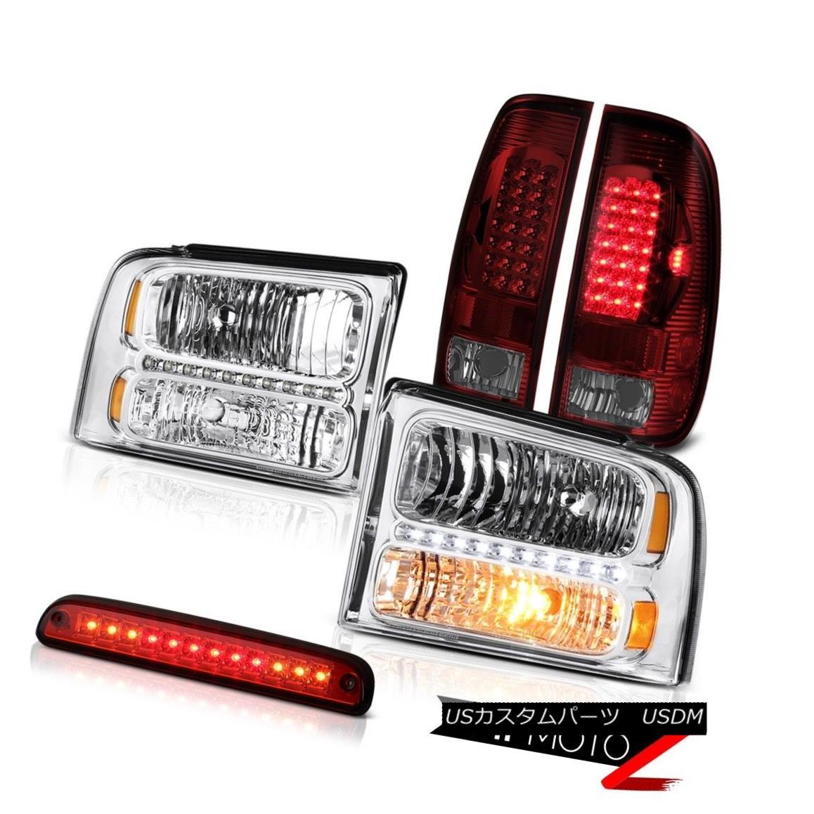 ヘッドライト 05-07 F250 F350 Left Right Front Headlights Dark Red LED Brake Tail Lights 3rd 05-07 F250 F350左右フロントヘッドライトダークレッドLEDブレーキテールライト3rd
