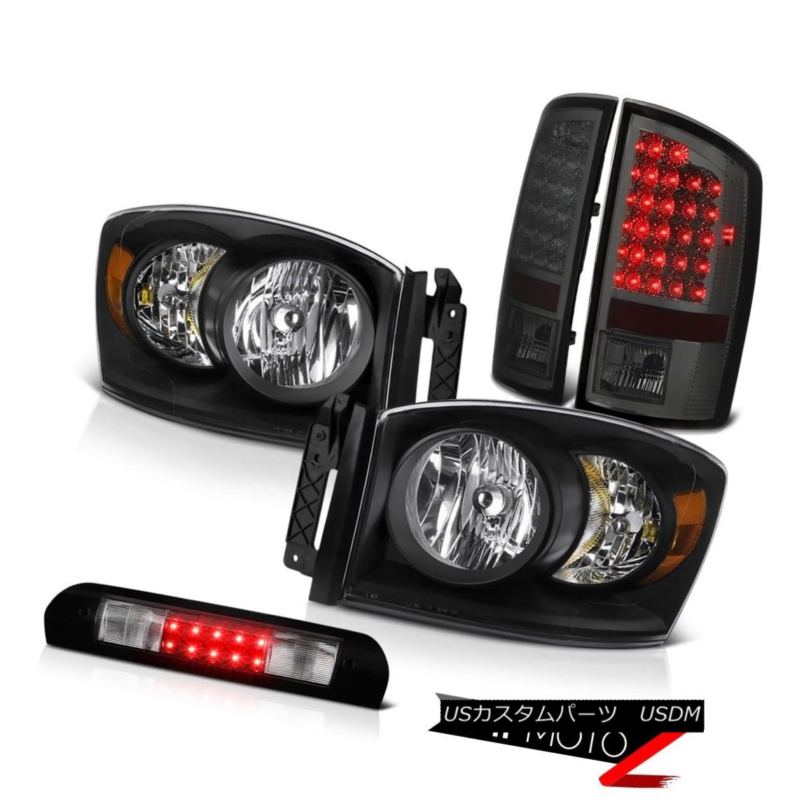 ヘッドライト 2006 Dodge Ram 2500 3500 Inky Black Headlights Smoke LED Tail Lamps 3rd Brake 2006 Dodge Ram 2500 3500 Inky BlackヘッドライトスモークLEDテールランプ3rdブレーキ