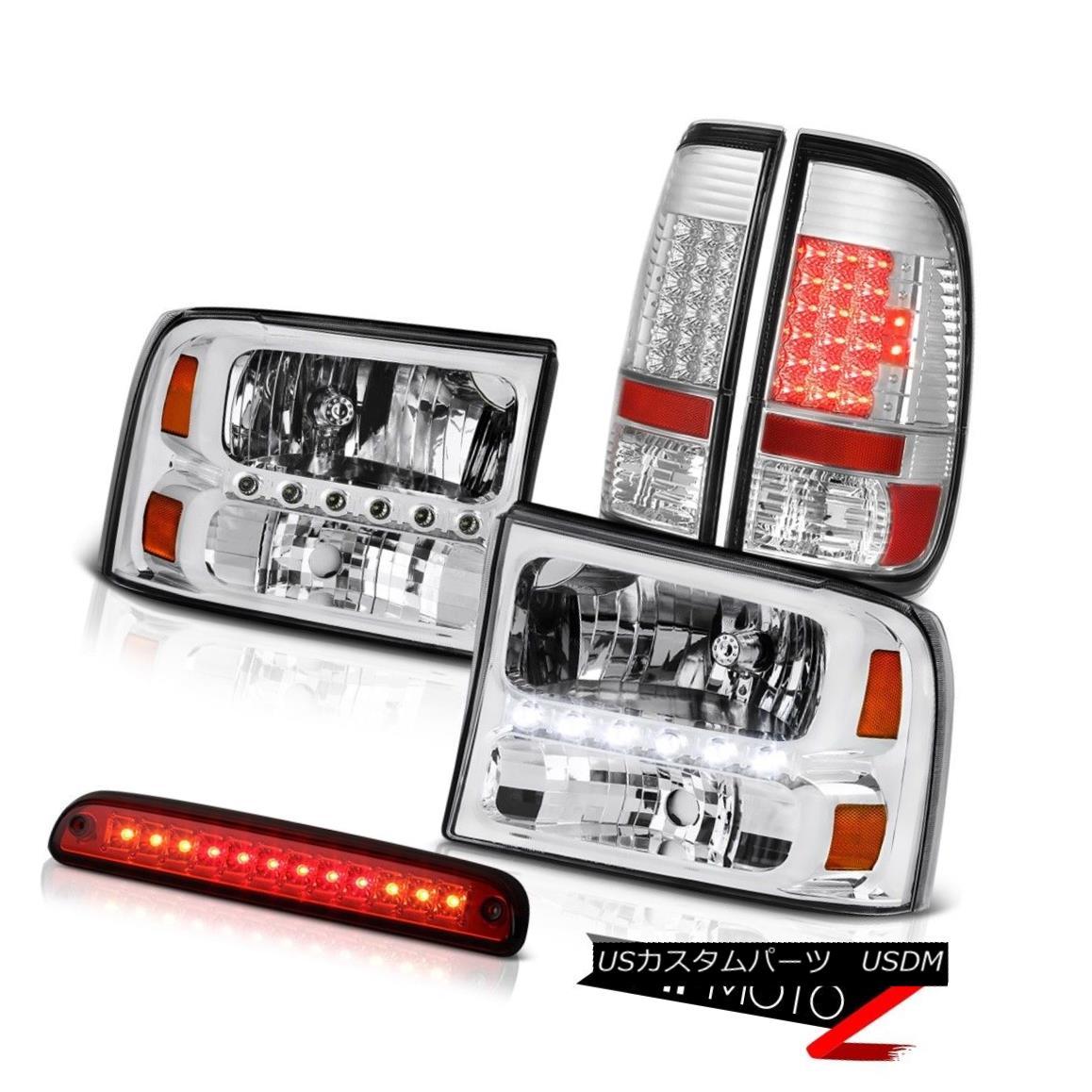 ヘッドライト 99-04 F350 XLT Crystal Clear Headlamps Chrome Tail Lamps Roof Brake Cargo LED 99-04 F350 XLTクリスタルクリアヘッドランプクロームテールランプルーフブレーキカーゴLED