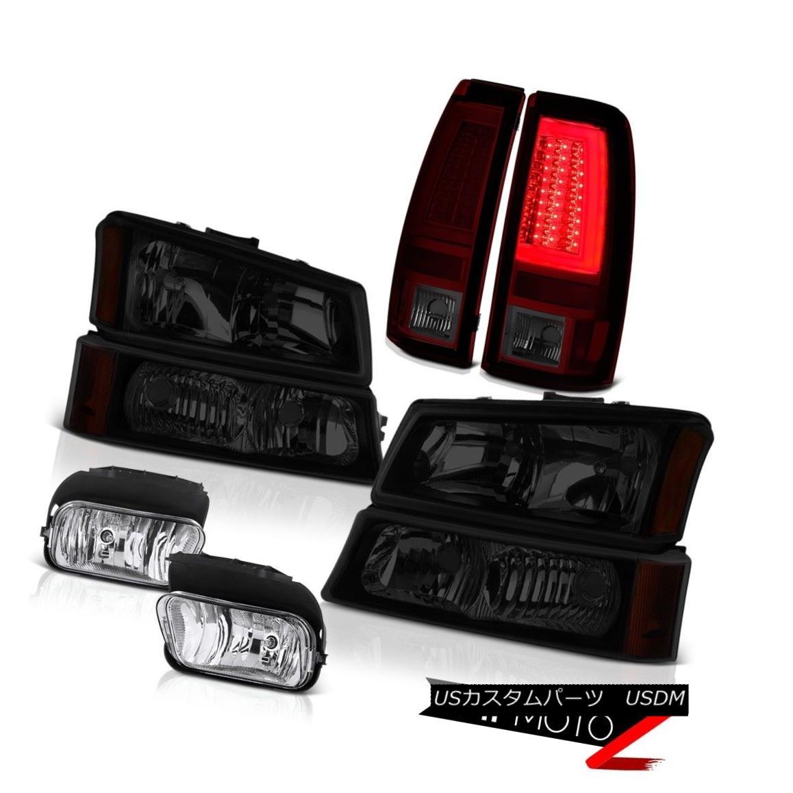 ヘッドライト 03-06 Silverado 1500 Burgundy Red Tail Lamps Headlamps Fog Neon Tube
