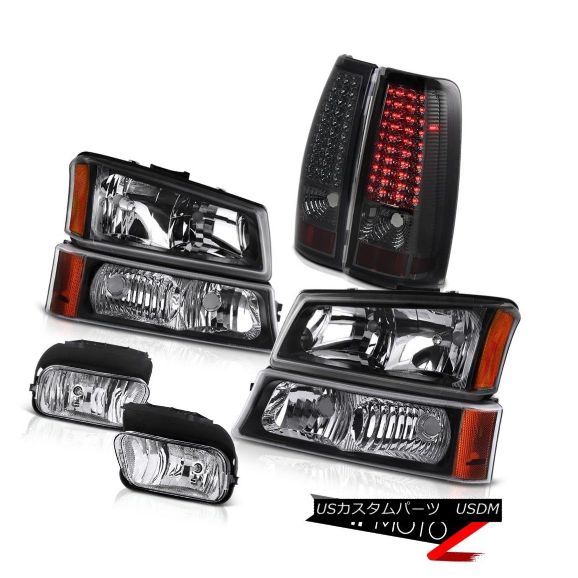 ヘッドライト 2003 2004 Silverado 4.3L V6 Crystal Black headlight Tail Lights Driving Foglight 2003 2004 Silverado 4.3L V6クリスタルブラックヘッドライトテールライトドライビングフォグライト