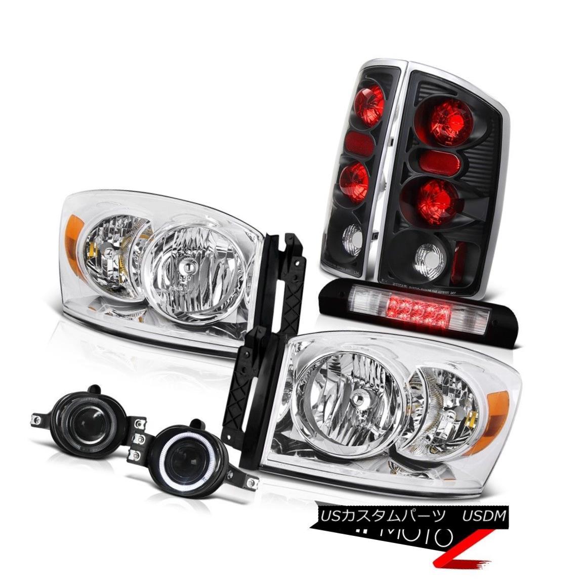 ヘッドライト Clear Headlamps Tail Brake Lamp Projector Fog Euro Third LED 2006 Dodge Ram V8 クリアヘッドランプテールブレーキランププロジェクターフォッグユーロサードLED 2006 Dodge Ram V8
