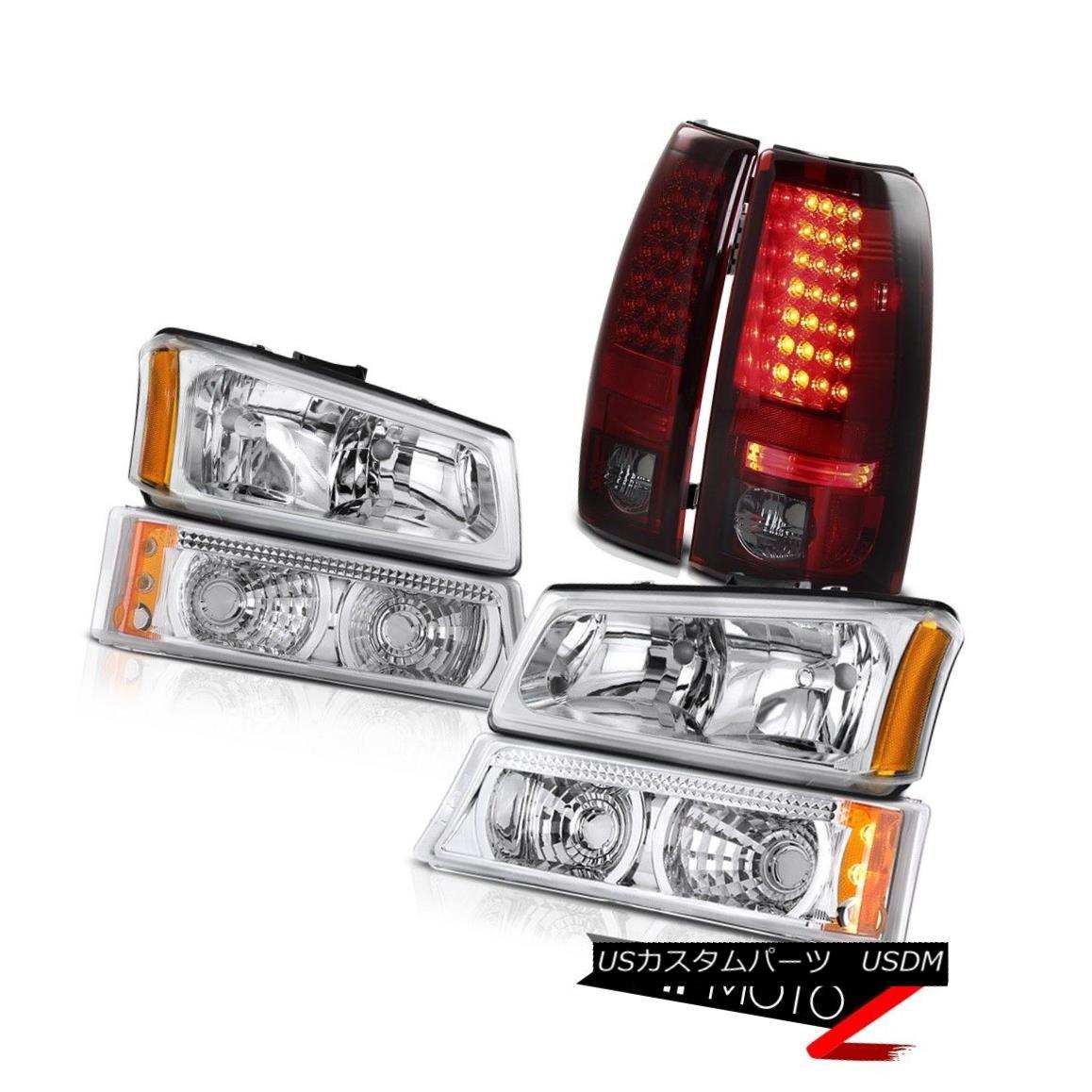 ヘッドライト Crystal Clear Headlights Turn Signal Bumper Light 03-06 Silverado SMD LED Brake クリスタルクリアヘッドライトターンシグナルバンパーライト03-06 Silverado SMD LEDブレーキ