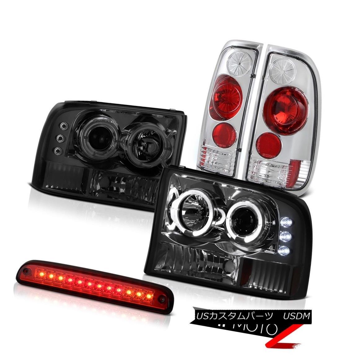 ヘッドライト Pair Smoke DRL Headlights Third Brake Red LED Rear Lights 1999-2004 F250 XLT ペアの煙DRLヘッドライト第3ブレーキ赤LEDバックライト1999-2004 F250 XLT