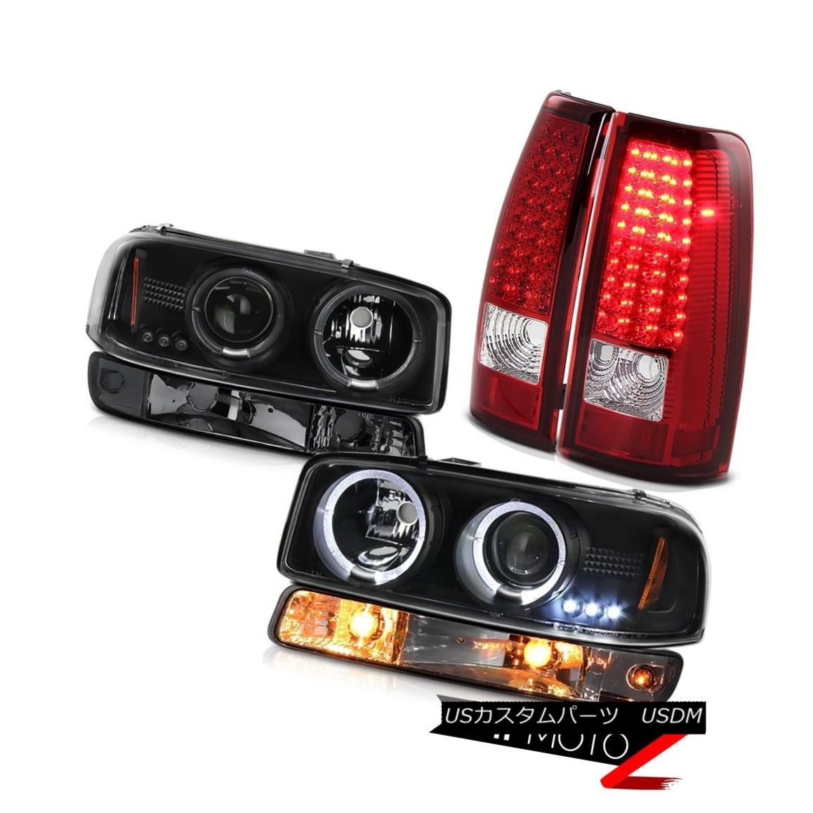 ヘッドライト 1999-2002 Sierra 3500HD Red led tail lights parking lamp black headlights LED 1999-2002シエラ3500HDレッドLEDテールライトパーキングランプブラックヘッドライトLED
