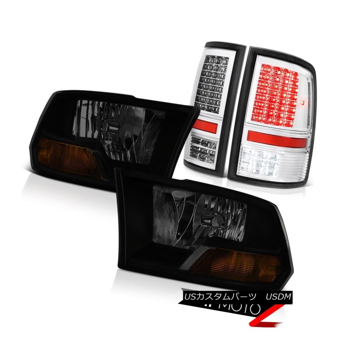 ヘッドライト 2010-2018 Ram 3500 6.4L Euro Chrome Tail Lights Dark Tinted Headlights LED SMD 2010-2018 Ram 3500 6.4LユーロクロームテールライトダークティンテッドヘッドライトLED SMD