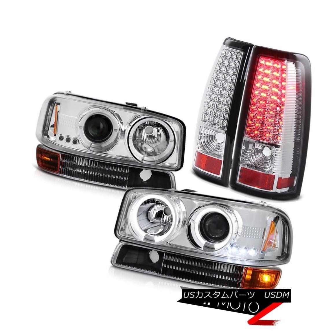 ヘッドライト 2004-2006 Sierra SLE Chrome LED Angel Eye Headlights Parking SMD Rear Tail Light 2004-2006シエラSLEクロームLEDエンジェルアイヘッドライトパーキングSMDリアテールライト