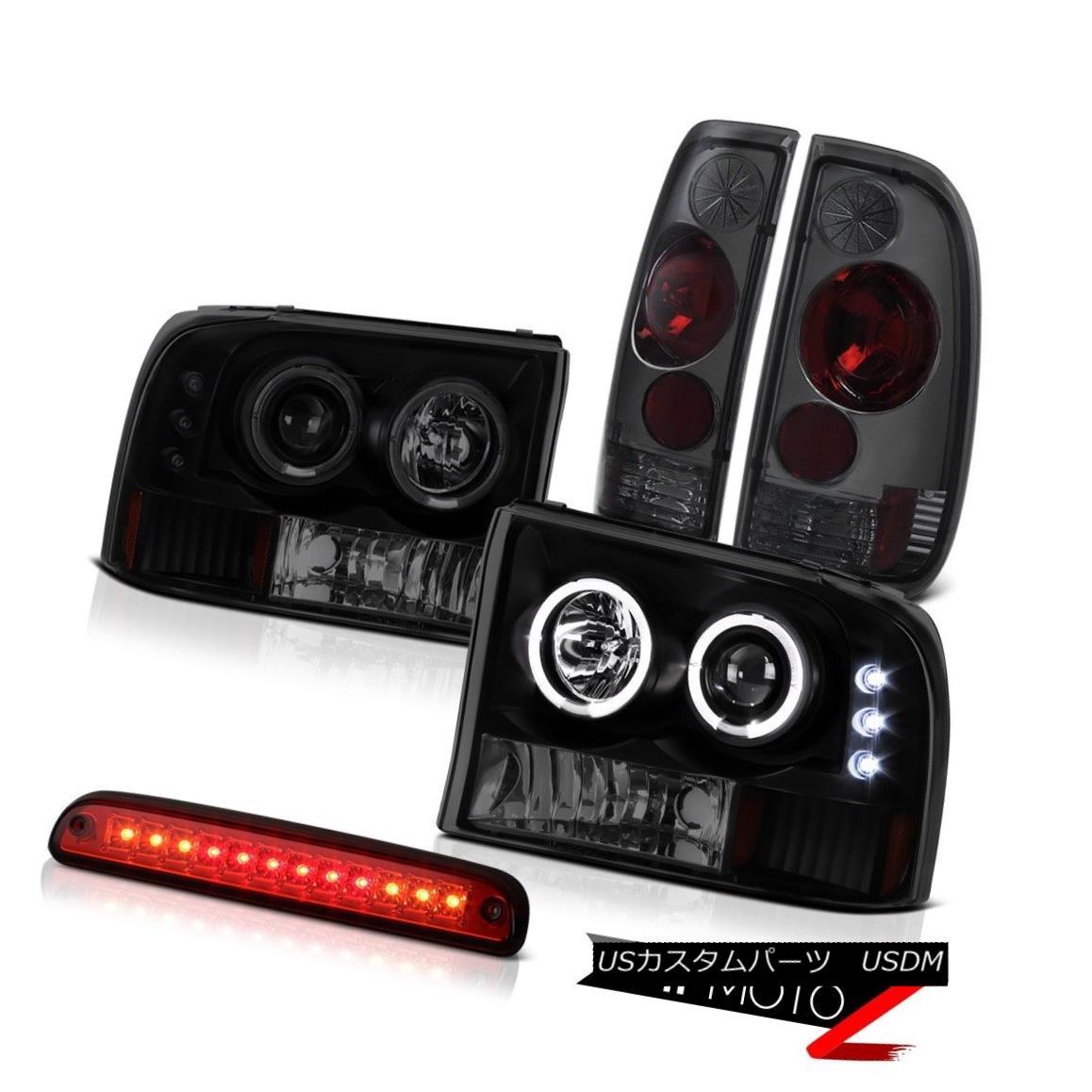 ヘッドライト Halo SINSTER BLACK Headlights High Stop LED Red Smoke Tail Light 99-04 F250 XLT Halo SINISTER BLACKヘッドライトハイストップLED赤煙テールライト99-04 F250 XLT