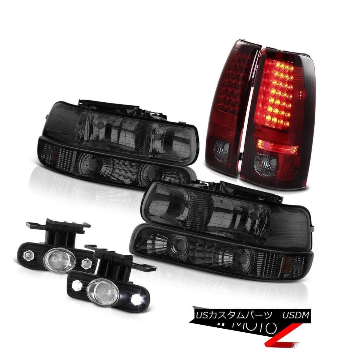 ヘッドライト 1999-2002 Silverado 1500 2500 Smoke Headlights SMD LED Brake Lamp DRL foglights 1999-2002 Silverado 1500 2500スモークヘッドライトSMD LEDブレーキランプDRLフォグライト