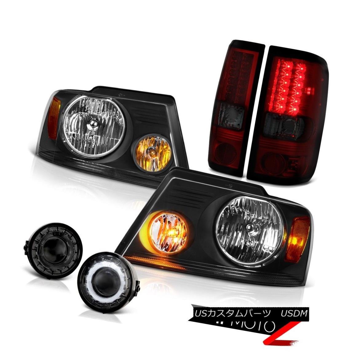 ヘッドライト 06 07 08 FORD F150 Truck Cherry Red LED Brake Lamp Driving Halo Fog Headlights 06 07 08フォードF150トラックチェリーレッドLEDブレーキランプHalo Fogヘッドライト