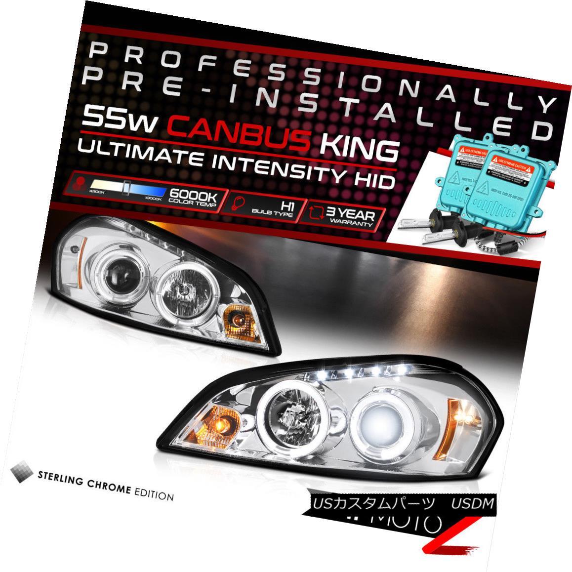 ヘッドライト !55W HID Built-In! 06-13 Chevy Impala Chrome Dual LED Halo Projector Headlight !55W HID内蔵! 06-13シボレーインパラクロームデュアルLEDハロープロジェクターヘッドライト
