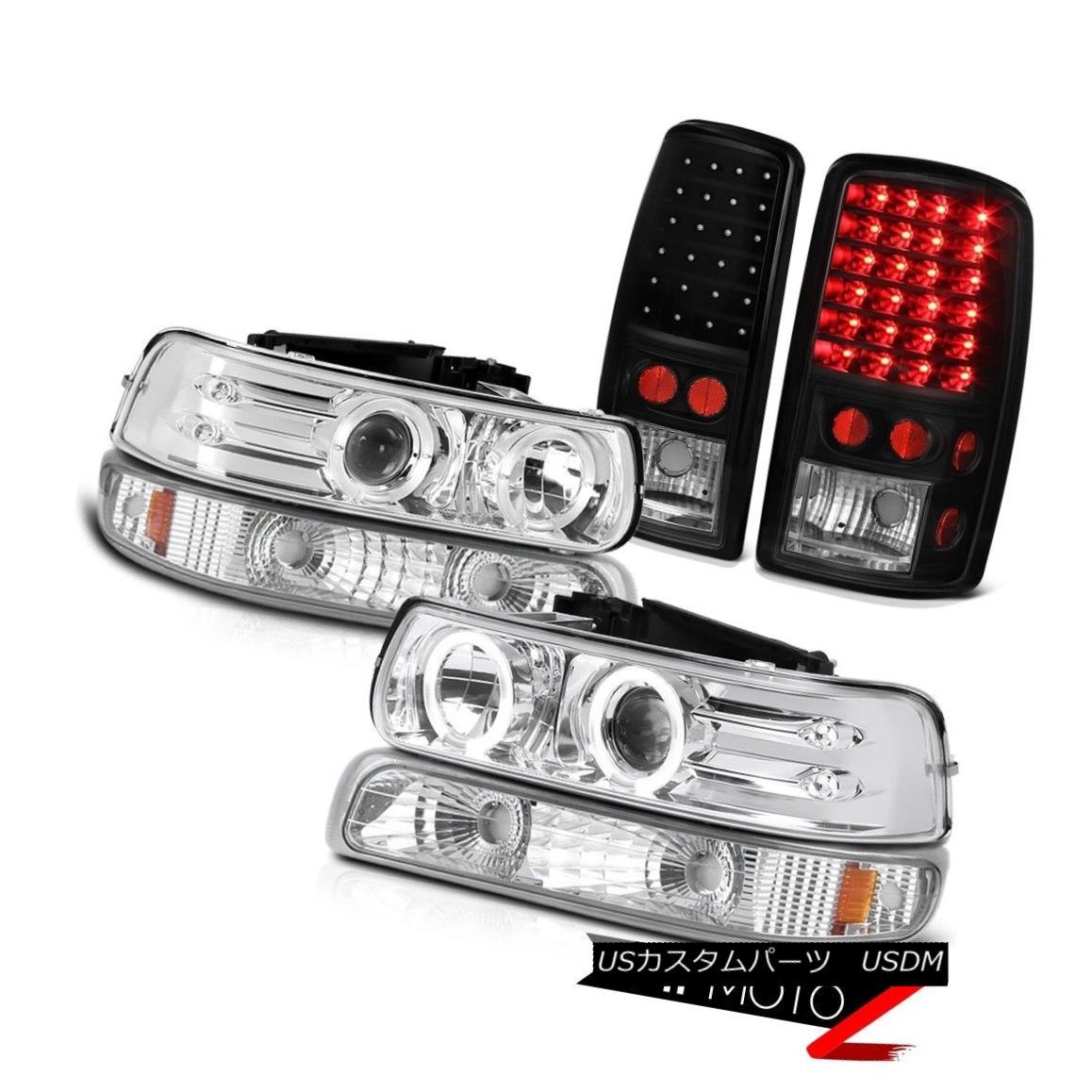ヘッドライト 00-06 Suburban LS Chrome Halo LED Headlights Signal Matte Black Tail Lights 00-06郊外LSクロームハローLEDヘッドライト信号マットブラックテールライト