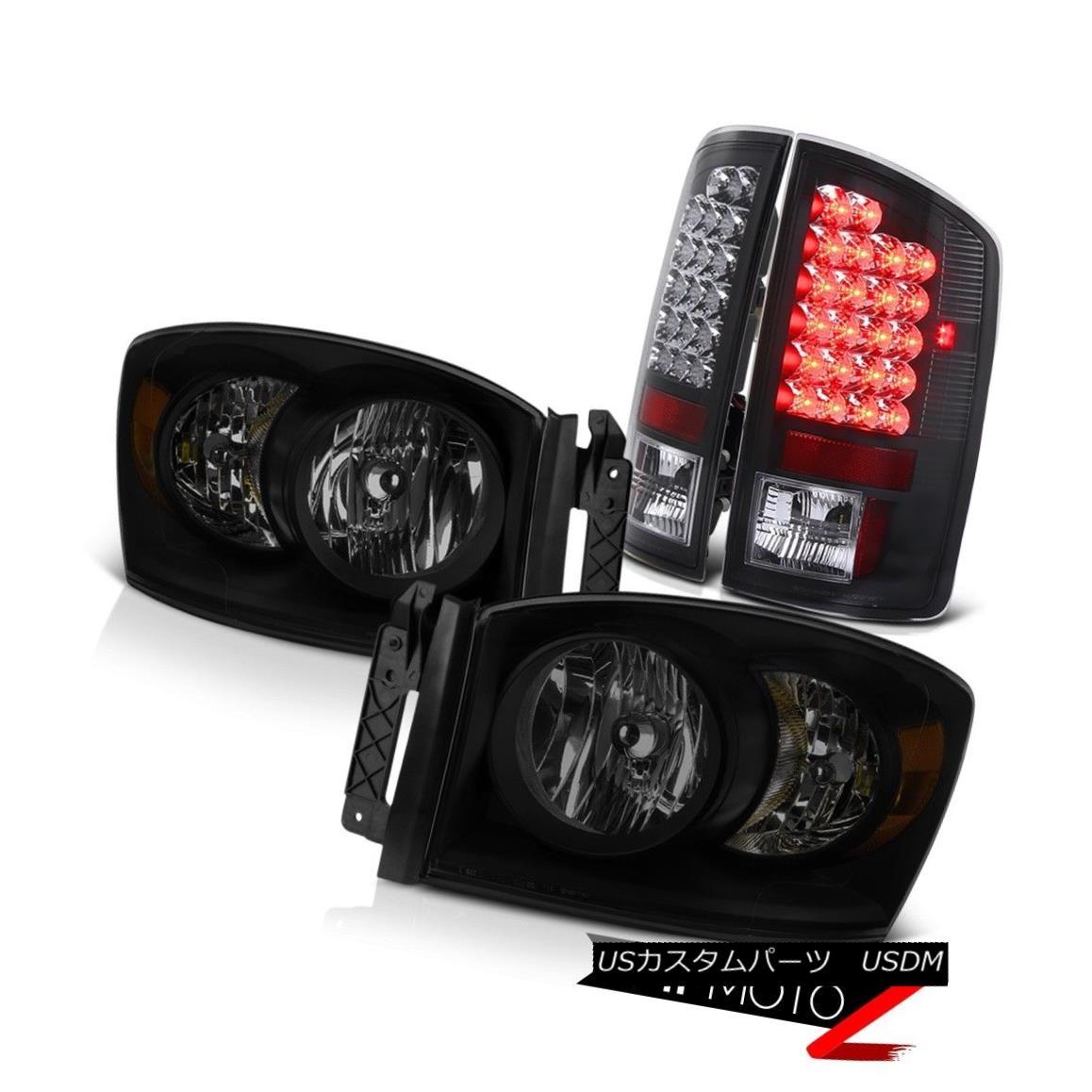 ヘッドライト 07-08 Dodge Ram 1500 4.7L Smoke Tinted Headlamps Black Tail Lights Replacement 07-08ダッジラム1500 4.7L煙がかかったヘッドライトブラックテールライトの交換