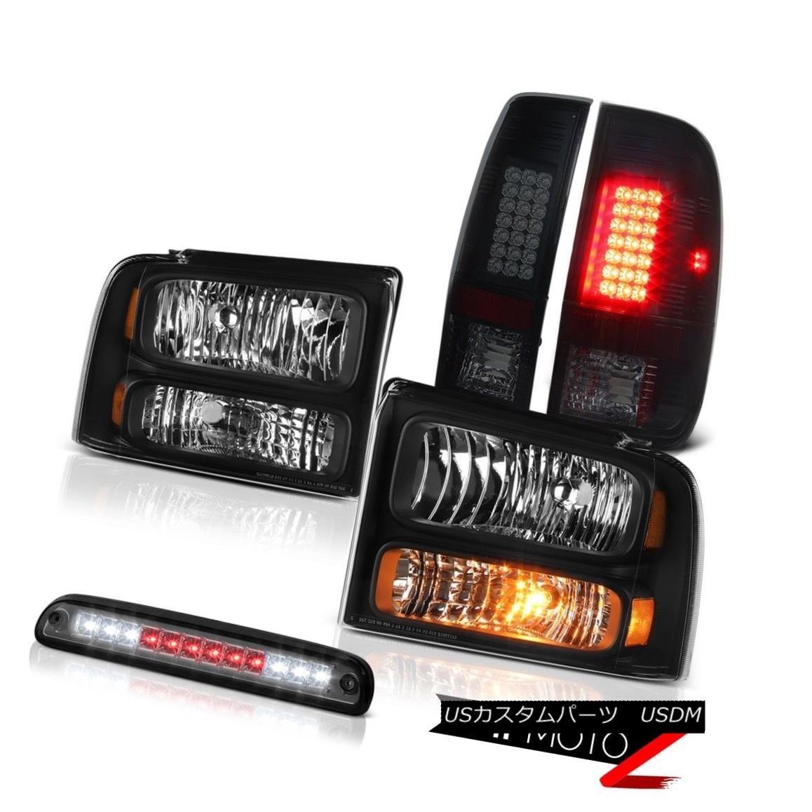 ヘッドライト 2005-2007 F350 6.8L Matte Black Headlights Sinister LED Tail Lights Roof Brake 2005-2007 F350 6.8Lマットブラックヘッドライト不快なLEDテールライトルーフブレーキ
