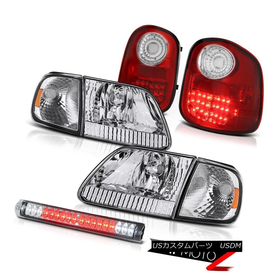 ヘッドライト 97-03 Ford F150 Flareside Pair Headlights Clear High LED RED Taillights Assembly 97-03 Ford F150 FlaresideペアヘッドライトクリアハイLED REDターンライトアセンブリ