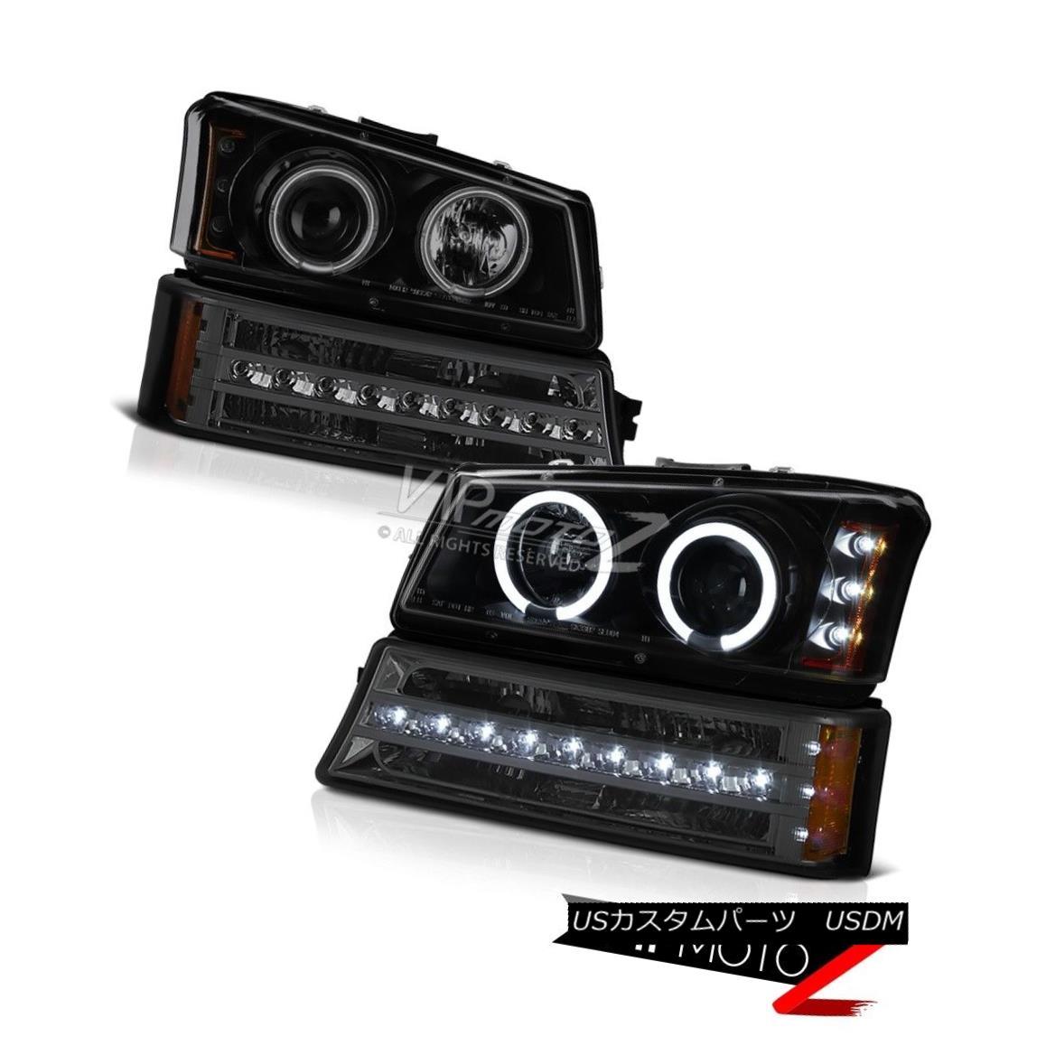 ヘッドライト 03 04 05 06 Silverado 1500 Smokey parking light dark tinted projector headlights 03 04 05 06シルバラード1500スモーキーパーキングライトダークテントプロジェクターヘッドライト