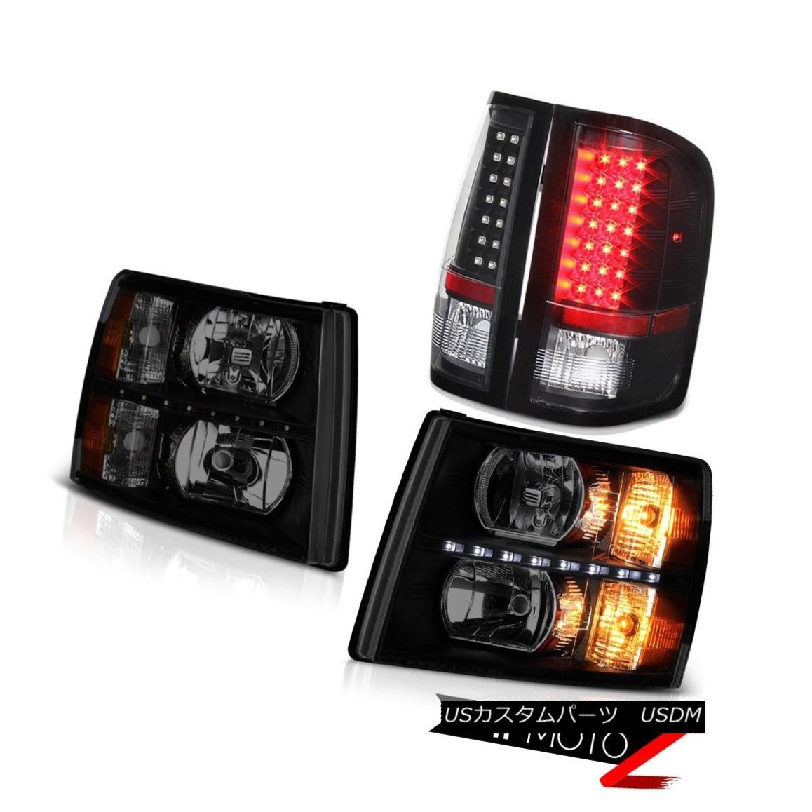 ヘッドライト 07-13 Silverado Headlamps led drl matte black tail brake lamps LED SMD Assembly 07-13 Silveradoヘッドランプled drlマットブラックテールブレーキランプLED SMDアセンブリ