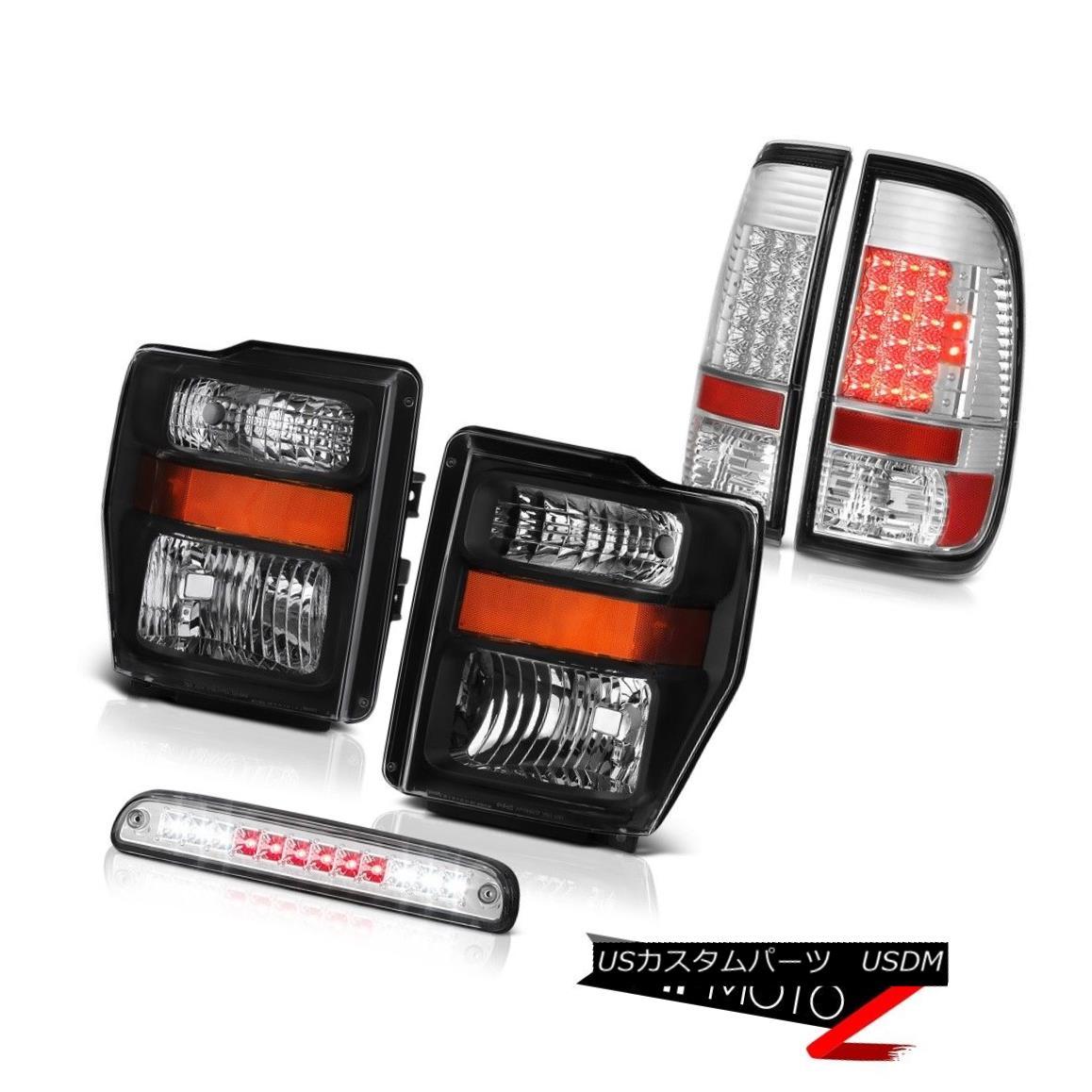 ヘッドライト 2008-2010 F250 Triton V8 Black Headlamps Euro LED Tail Lights Third Brake Cargo 2008-2010 F250トリトンV8ブラックヘッドランプユーロLEDテールライト第3ブレーキ貨物