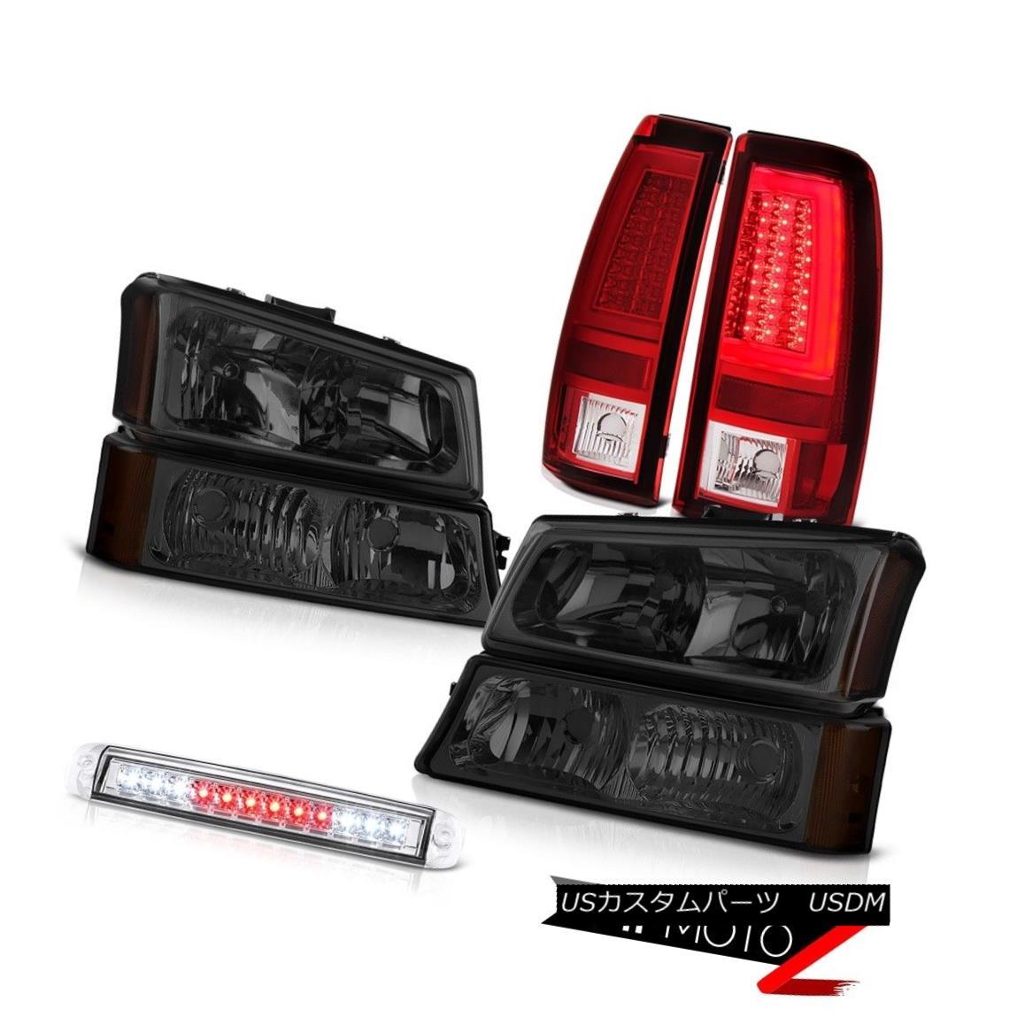 ヘッドライト 2003-2006 Silverado Red Taillamps Roof Brake Lamp Smokey Parking Light Headlamps 2003年?2006年シルヴェラドレッドタイルランプルーフブレーキランプスモーキー駐車ライトヘッドランプ