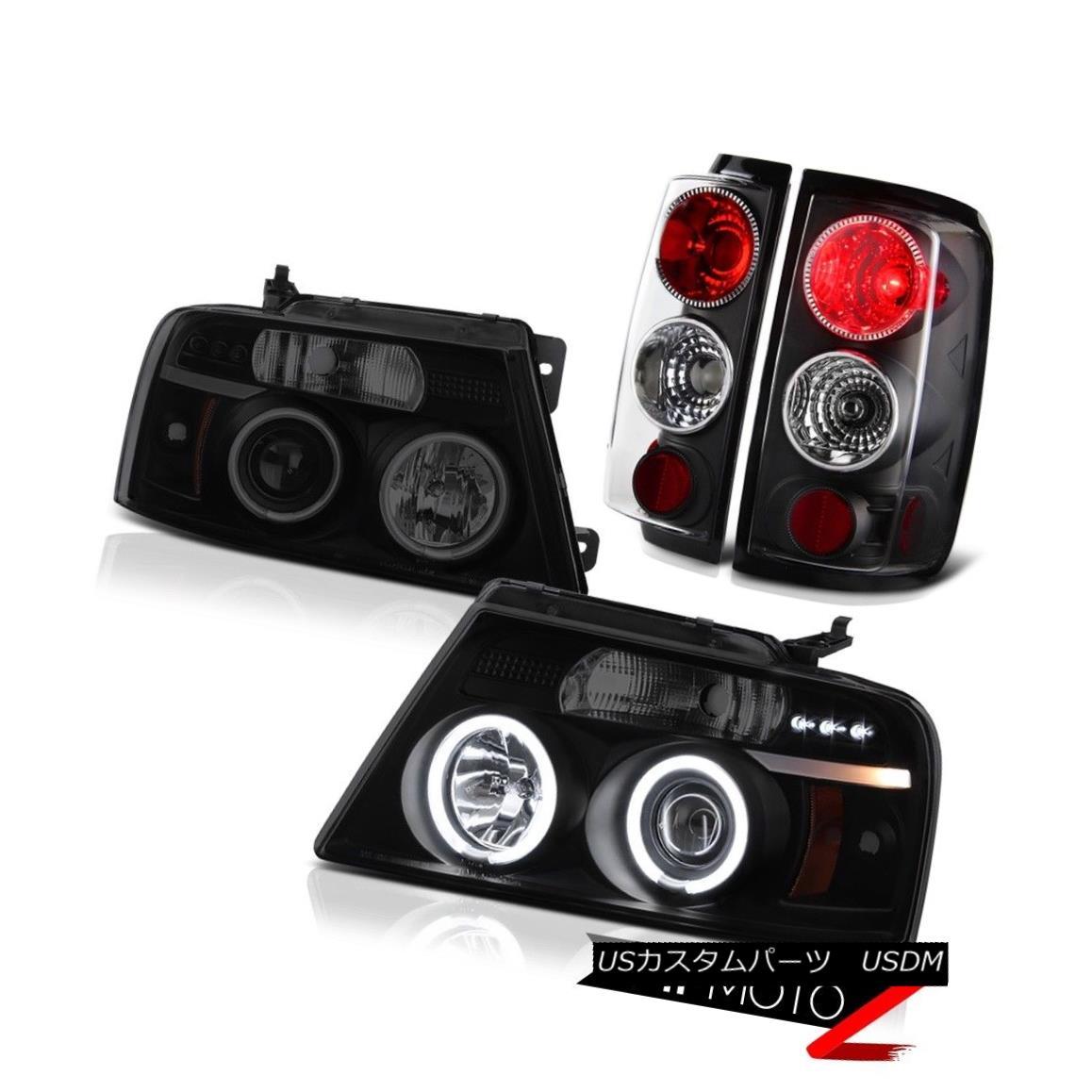 ヘッドライト 2004-08 F150 Truck CCFL Halo Rim Angel Eye Headlight Clear Rear Black Taillights 2004-08 F150 CCFLハローリムエンジェルアイヘッドライトクリアリアブラックテイルライト