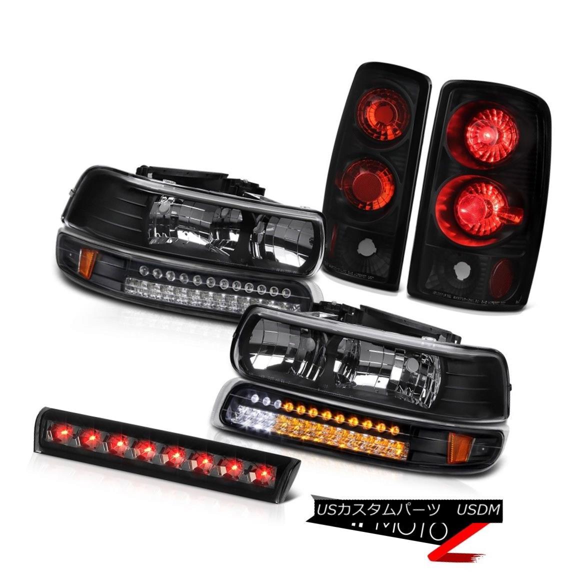 ヘッドライト 00-06 Chevy Suburban Inky Black Headlights LED Bumper Rear Taillamps Smoke Third 00-06シボレー郊外インキブラックヘッドライトLEDバンパーリアタイヤランプスモークスリー