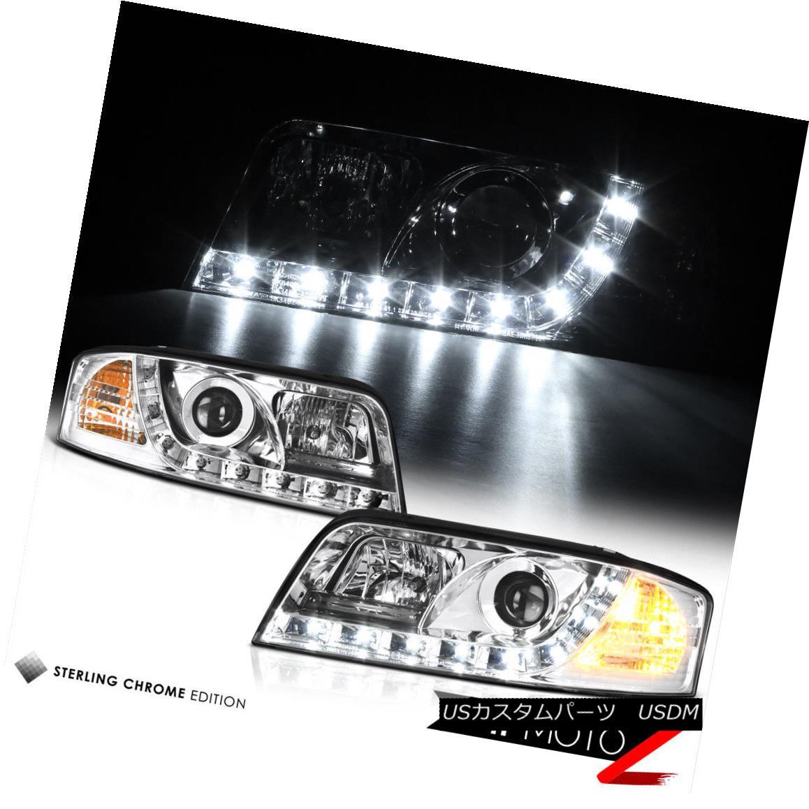 ヘッドライト AUDI A6/QUATTRO 02-04 Euro Chrome Projector Headlight LED SMD DRL Running Lamp AUDI A6 / QUATTRO 02-04ユーロクロームプロジェクターヘッドライトLED SMD DRLランニングランプ