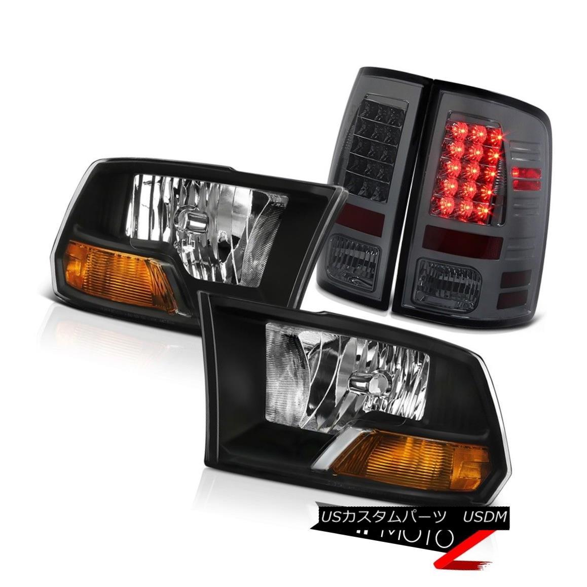 ヘッドライト 2009-2018 Dodge Ram Black Head Lights Smoke LED Rear Tail Lights 2013 2012 2011 2009-2018ダッジラムブラックヘッドライトスモークLEDリアテールライト2013 2012 2011