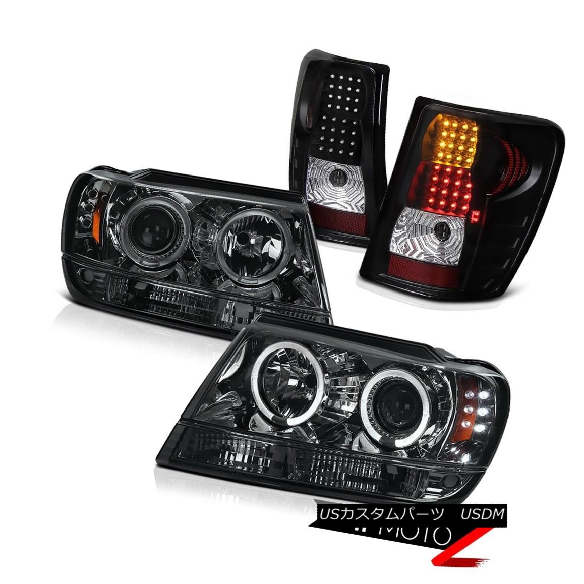 ヘッドライト GRAND CHEROKEE 99-04 SMOKE/CHROME HALO PROJECTOR HEADLIGHT+BLACK LED TAIL LIGHT GRAND CHEROKEE 99-04 SMOKE / CHROMEハロープロジェクターヘッドライト+ BLAC  K LEDテールライト