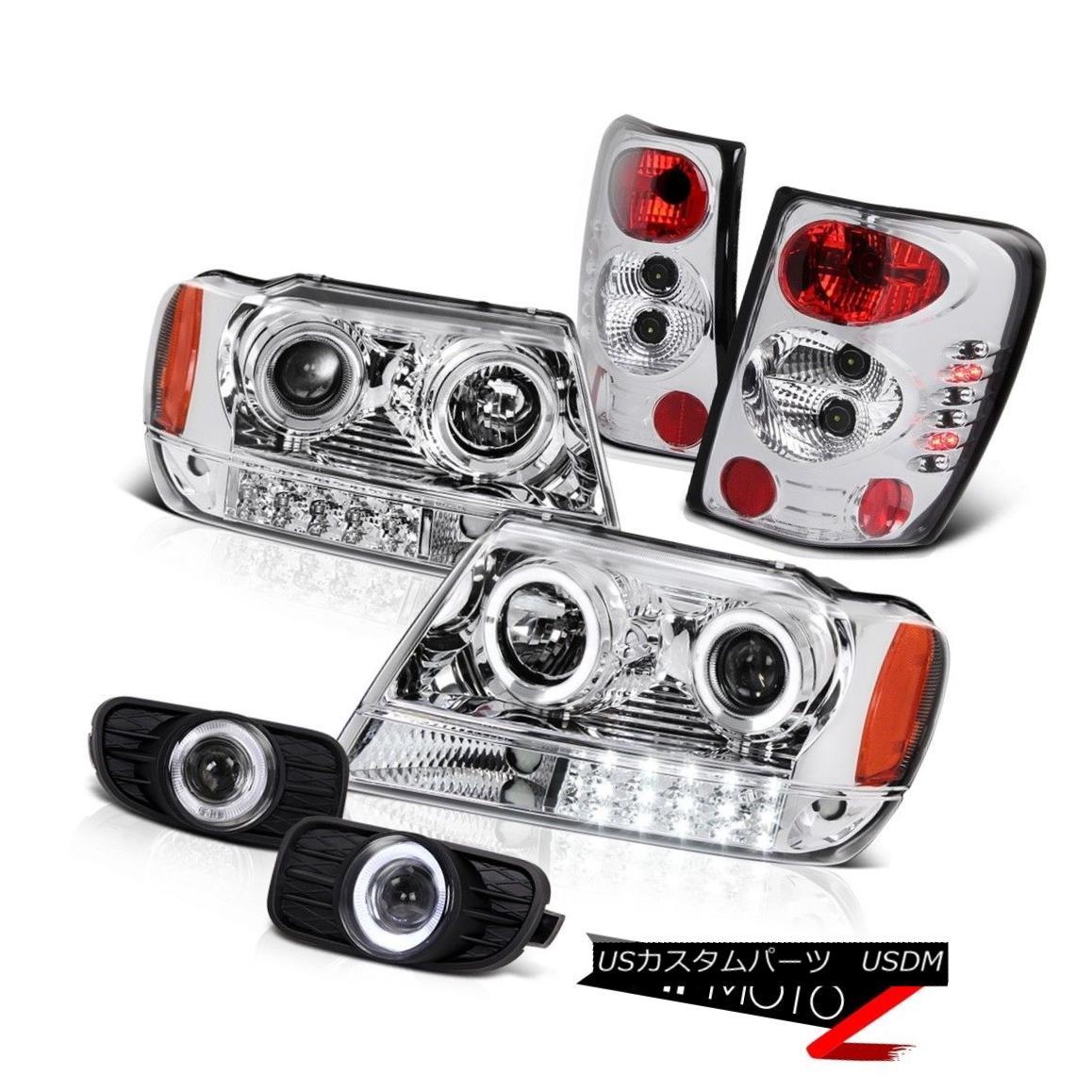 ヘッドライト JEEP 99-03 GRAND CHEROKEE WG CHROME LED PROJECTOR HEADLIGHT+TAILLIGHT+FOG LIGHT ジープ99-03 GRAND CHEROKEE WG CHROME LEDプロジェクターヘッドライト+テール ライト+フォグライト
