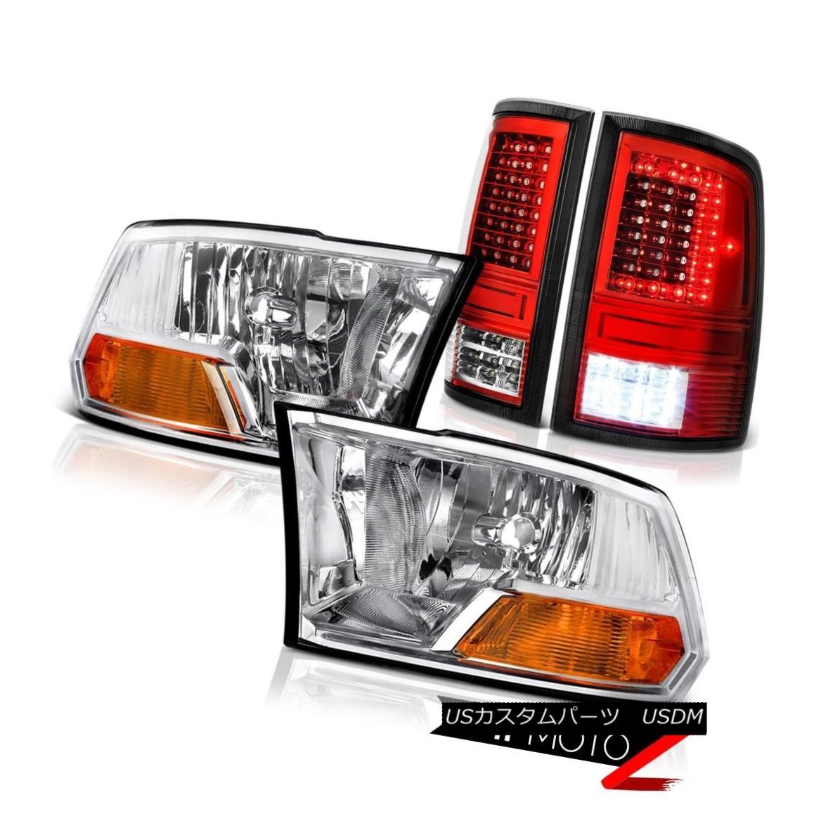 ヘッドライト 09 10 11-18 Dodge RAM 3500 Red Led Tail Lights Factory Style Headlamp SET PAIR 09 10 11-18ダッジRAM 3500赤いテールライト工場スタイルヘッドランプSET PAIR