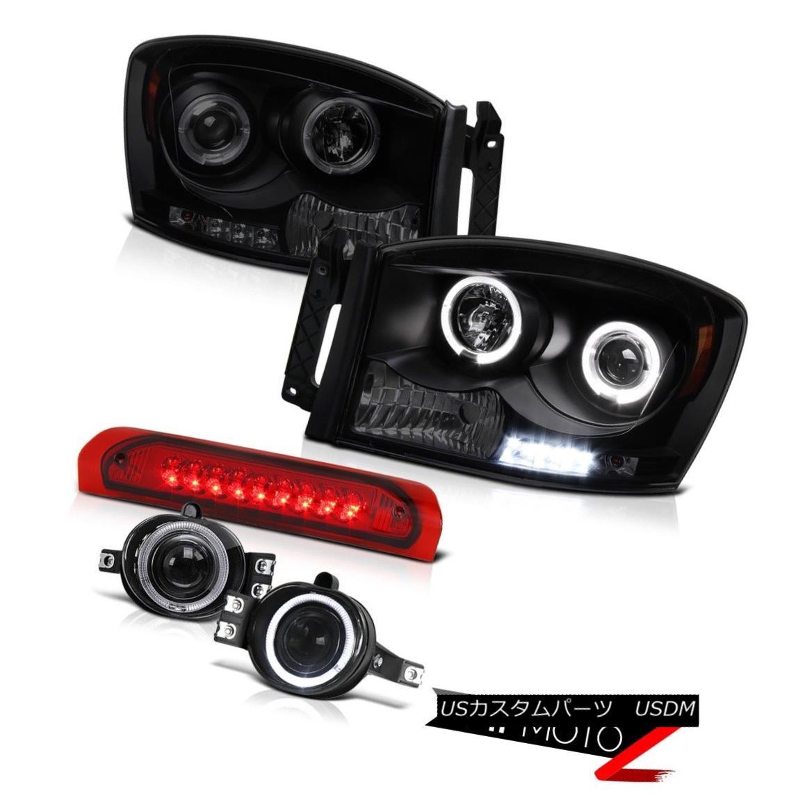 ヘッドライト 06 Ram 2500 4x4 Smoke Halo LED Headlight Top Mount Brake Lamps Red Projector Fog 06 Ram 2500 4x4スモークハローLEDヘッドライトトップマウントブレーキランプレッドプロジェクターフォグ