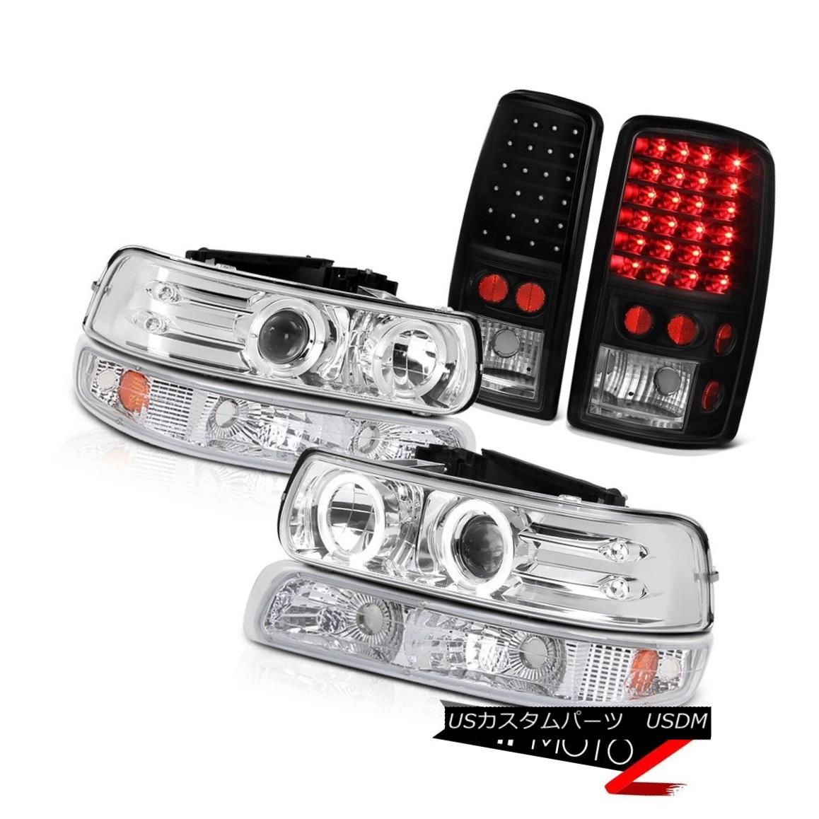 ヘッドライト 2000-2006 Suburban LS 2x Halo Projector Headlights Parking Black LED Tail Lights 2000-2006郊外LS 2xハロープロジェクターヘッドライトパーキングブラックLEDテールライト