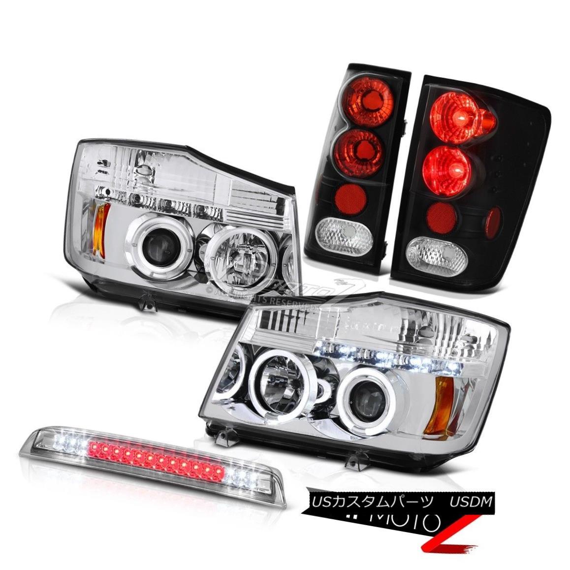 ヘッドライト Chrome Angel Eye Headlights Black Tail Lamps Roof Brake LED For 04-15 Titan XE クロームエンジェルアイヘッドライトブラックテールランプ屋根用ブレーキLED 04-15 Titan XE