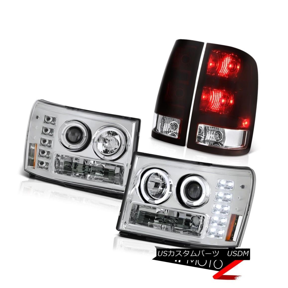 ヘッドライト 07-13 GMC Sierra 1500 Denali Taillamps Euro Chrome Headlights Dual Halo Assembly 07-13 GMC Sierra 1500 Denali Taillampsユーロクロームヘッドライトデュアルヘイローアセンブリ