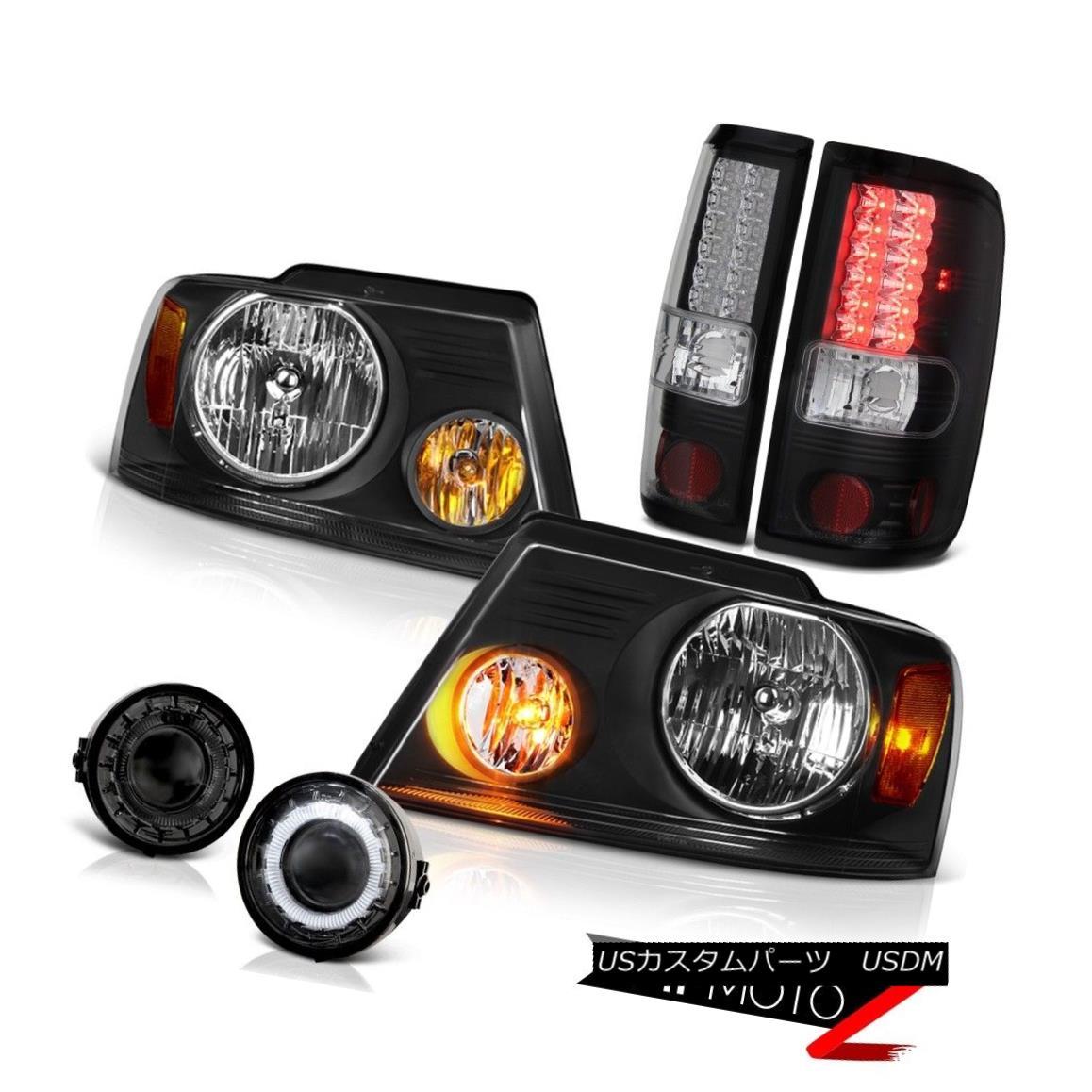 ヘッドライト F150 FORD 06-08 Black Headlights+LED Tail Light Brake Lamp+Glass Halo Fog Lamps F150フォード06-08ブラックヘッドライト+ LEDテールライトブレーキランプ+ガラスハローフォグランプ