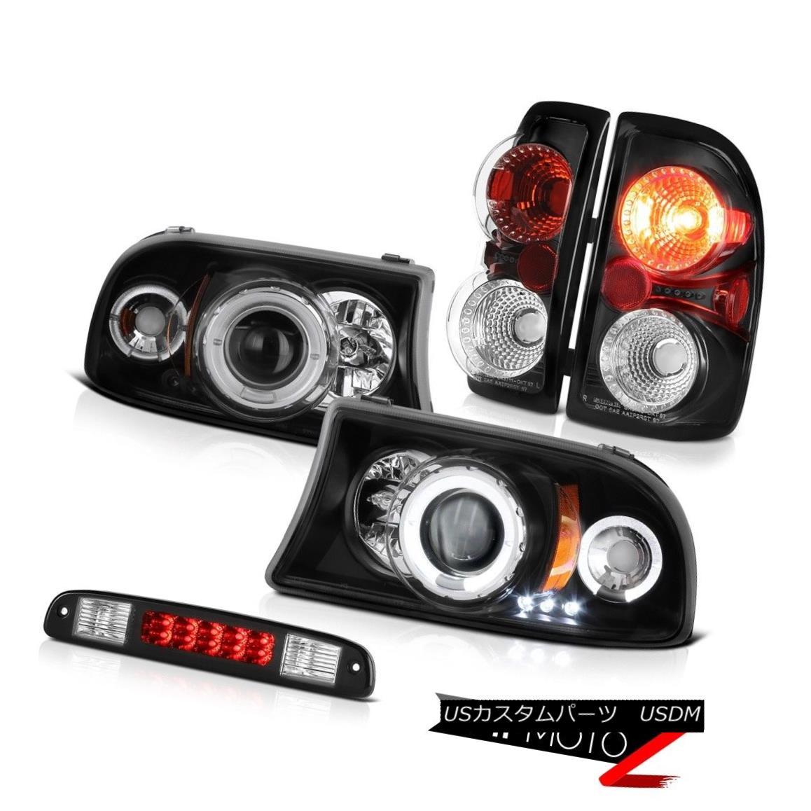 ヘッドライト 1997-2004 Dodge Dakota Magnum Black Halo LED Headlights Third Brake Tail Lights 1997 - 2004年ダッジダコタマグナムブラックハローLEDヘッドライト第3ブレーキテールライト