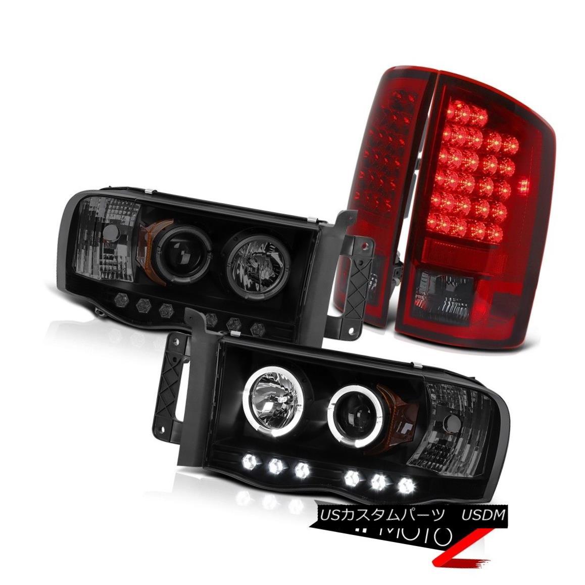 ヘッドライト 2002-2005 Dodge Ram WS Darkest Black Halo LED Headlights Bulbs Brake Tail Light 2002-2005ダッジラムWS最暗ブラックハローLEDヘッドライト電球ブレーキテールライト