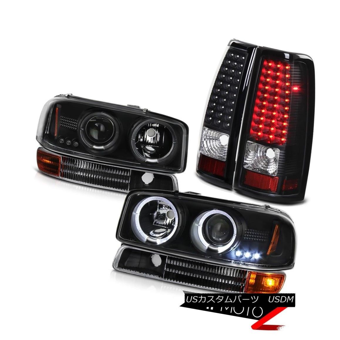 ヘッドライト 1999-2003 Sierra 5.3L V8 Halo LED Projector Headlight Black SMD Brake Tail Light 1999-2003シエラ5.3L V8ハローLEDプロジェクターヘッドライトブラックSMDブレーキテールライト