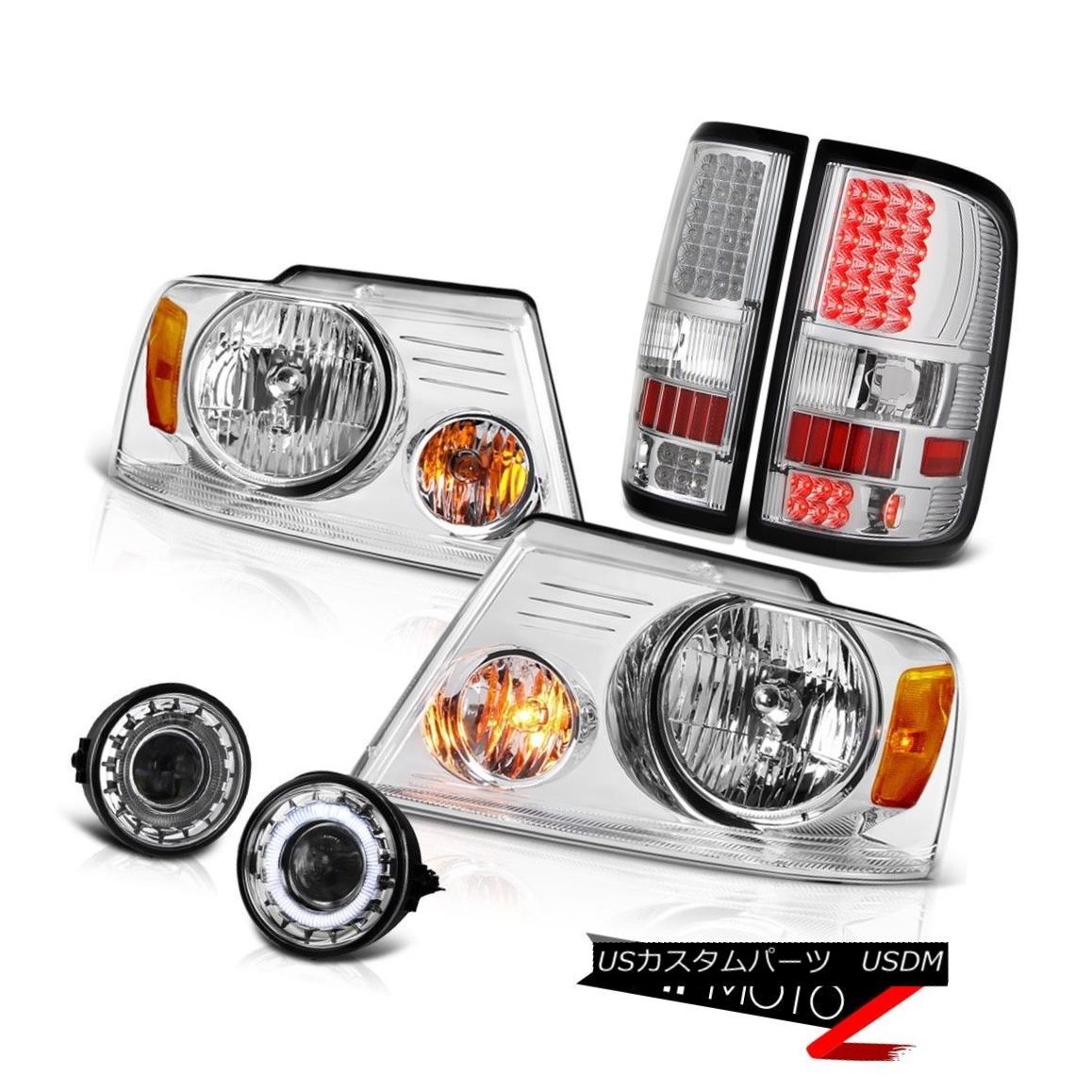 ヘッドライト Chrome Headlight LED Brake Lamp Tail Lights Glass Halo Projector Fog F150 06-08 クロームヘッドライトLEDブレーキランプテールライトガラスハロープロジェクターフォグF150 06-08