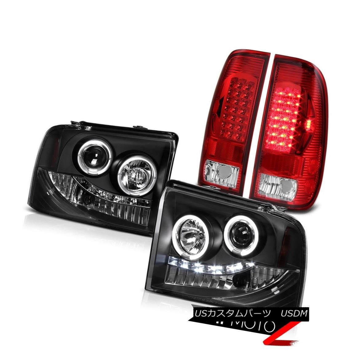 ヘッドライト LED Angel Eye Headlights+Tail Lights Ford F250 Powerstroke Harley Davidson 05-07 LEDエンジェルアイヘッドライト+タイ lライトフォードF250パワーストロークハーレーダビッドソン05-07